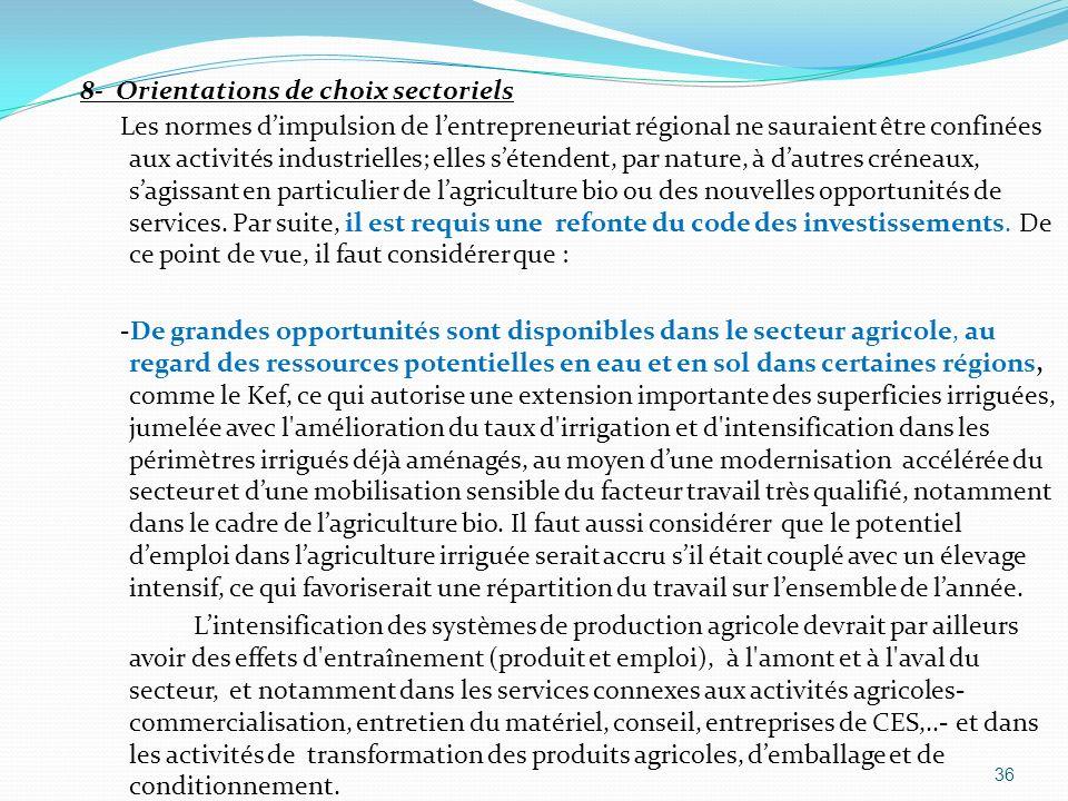 8- Orientations de choix sectoriels Les normes d'impulsion de l'entrepreneuriat régional ne sauraient être confinées aux activités industrielles; elles s'étendent, par nature, à d'autres créneaux, s'agissant en particulier de l'agriculture bio ou des nouvelles opportunités de services.
