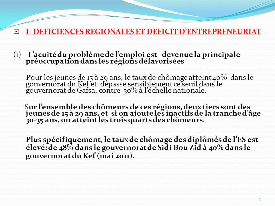 I- DEFICIENCES REGIONALES ET DEFICIT D'ENTREPRENEURIAT