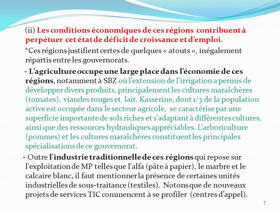 (ii) Les conditions économiques de ces régions contribuent à perpétuer cet état de déficit de croissance et d'emploi.