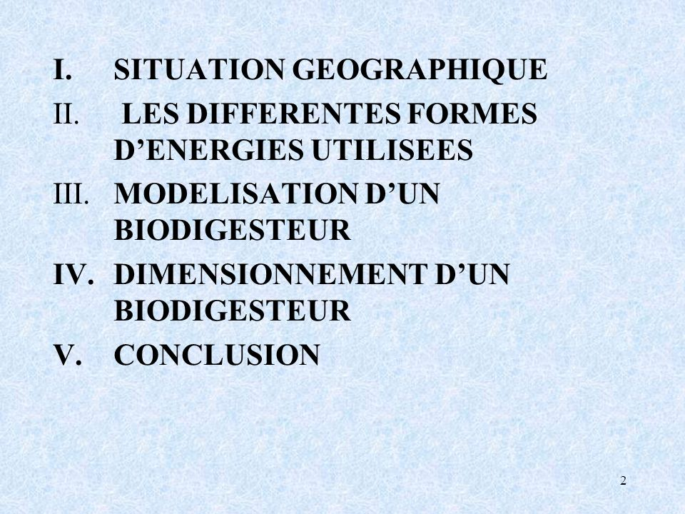 I. SITUATION GEOGRAPHIQUE