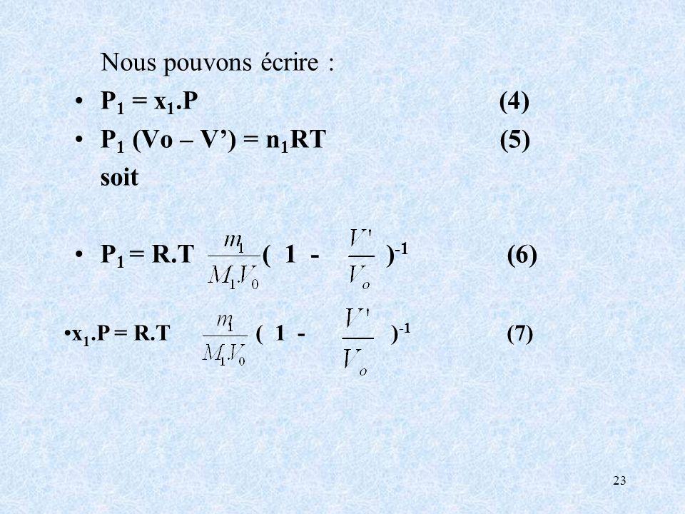 Nous pouvons écrire : P1 = x1.P (4) P1 (Vo – V') = n1RT (5) soit