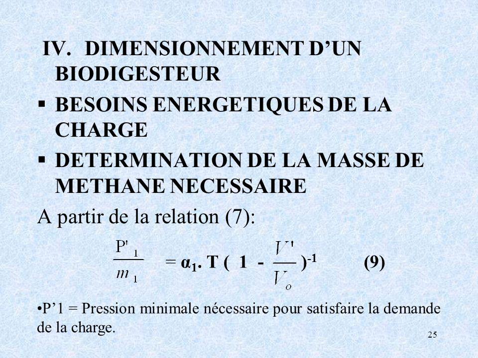 = α1. T ( 1 - )-1 (9) IV. DIMENSIONNEMENT D'UN BIODIGESTEUR