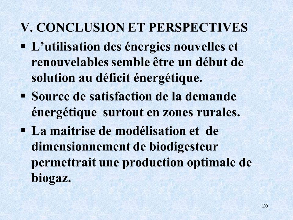 V. CONCLUSION ET PERSPECTIVES