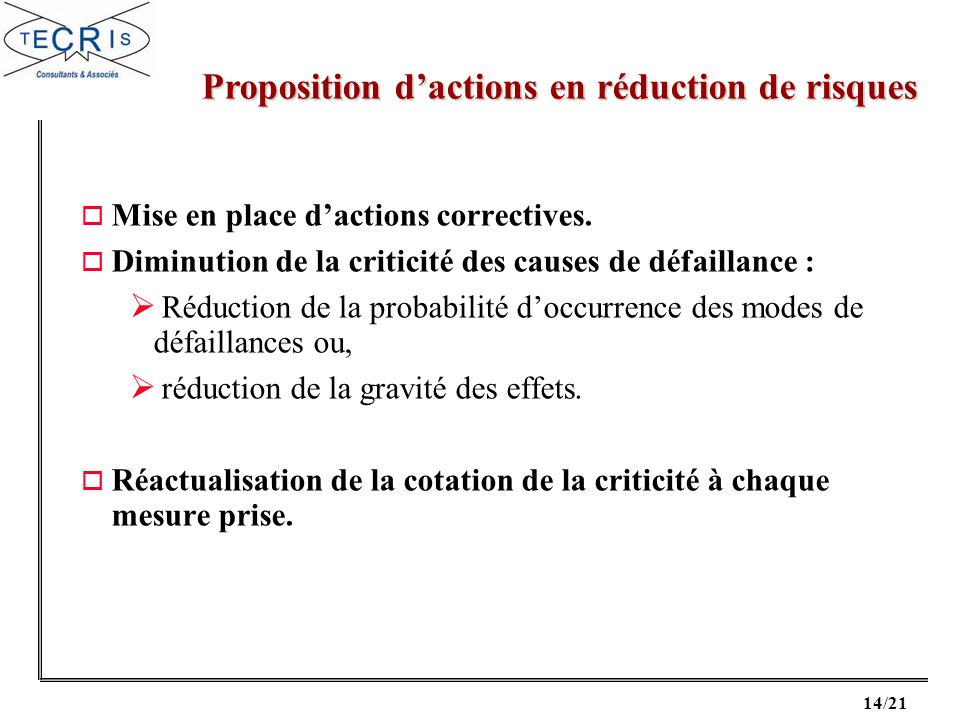 Proposition d'actions en réduction de risques