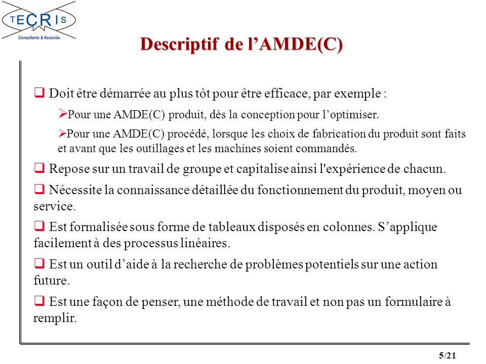 Descriptif de l'AMDE(C)