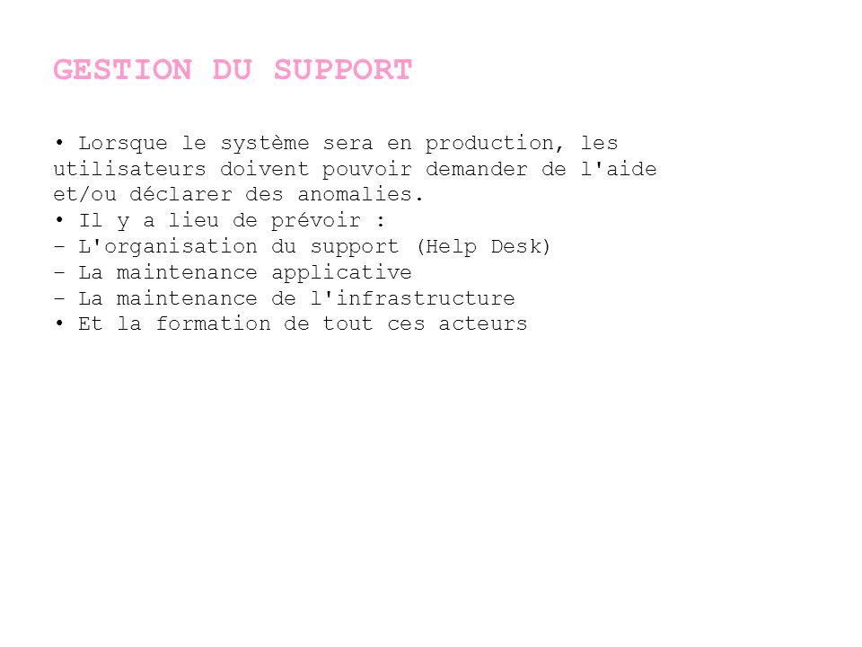 GESTION DU SUPPORT • Lorsque le système sera en production, les