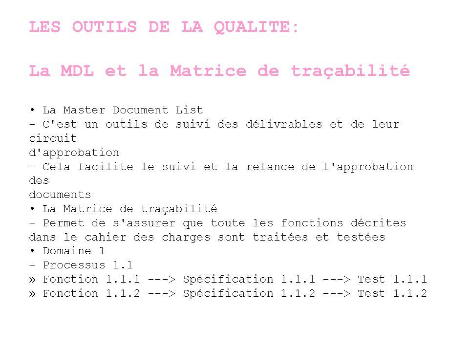 LES OUTILS DE LA QUALITE: La MDL et la Matrice de traçabilité