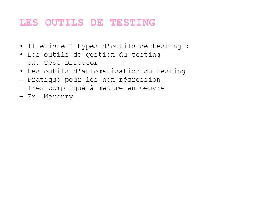 LES OUTILS DE TESTING • Il existe 2 types d outils de testing :
