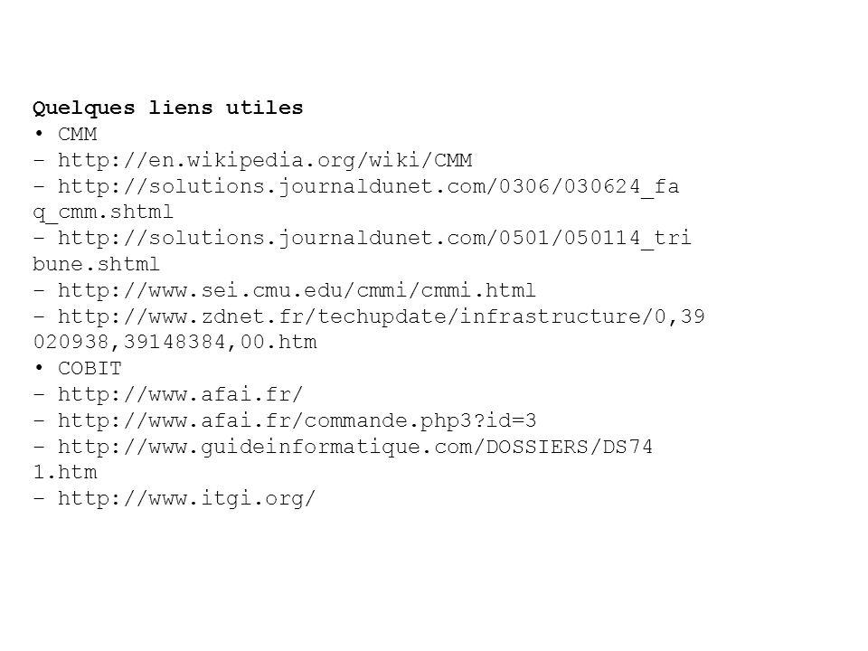 Quelques liens utiles • CMM. – http://en.wikipedia.org/wiki/CMM. – http://solutions.journaldunet.com/0306/030624_fa.