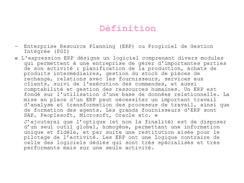 Définition - Enterprise Resource Planning (ERP) ou Progiciel de Gestion Intégrée (PGI)
