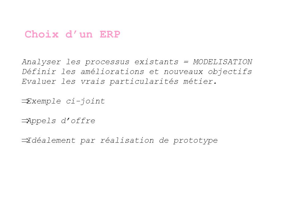 Choix d'un ERP Analyser les processus existants = MODELISATION