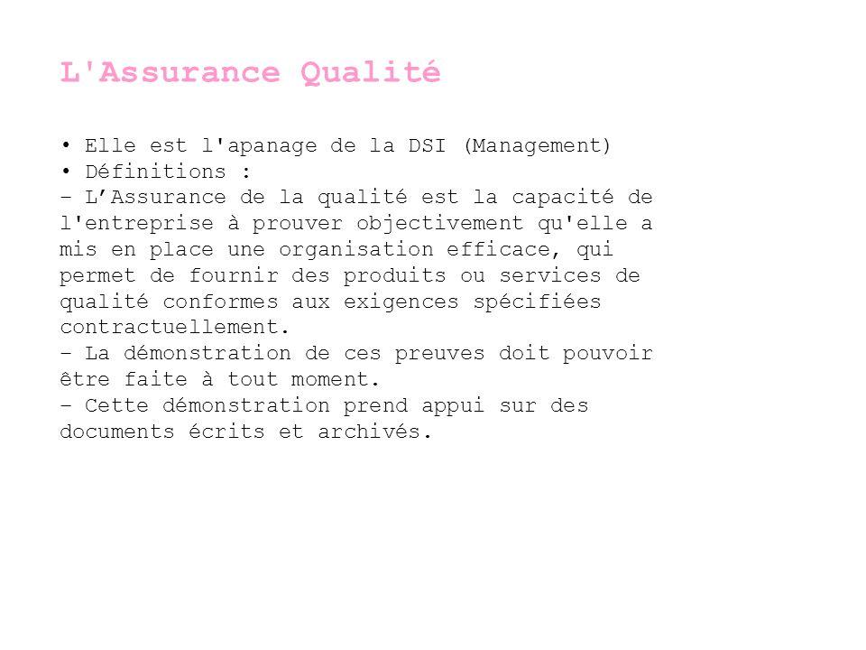 L Assurance Qualité • Elle est l apanage de la DSI (Management)