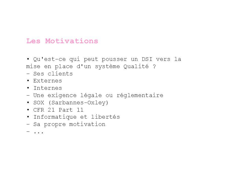 Les Motivations • Qu est-ce qui peut pousser un DSI vers la
