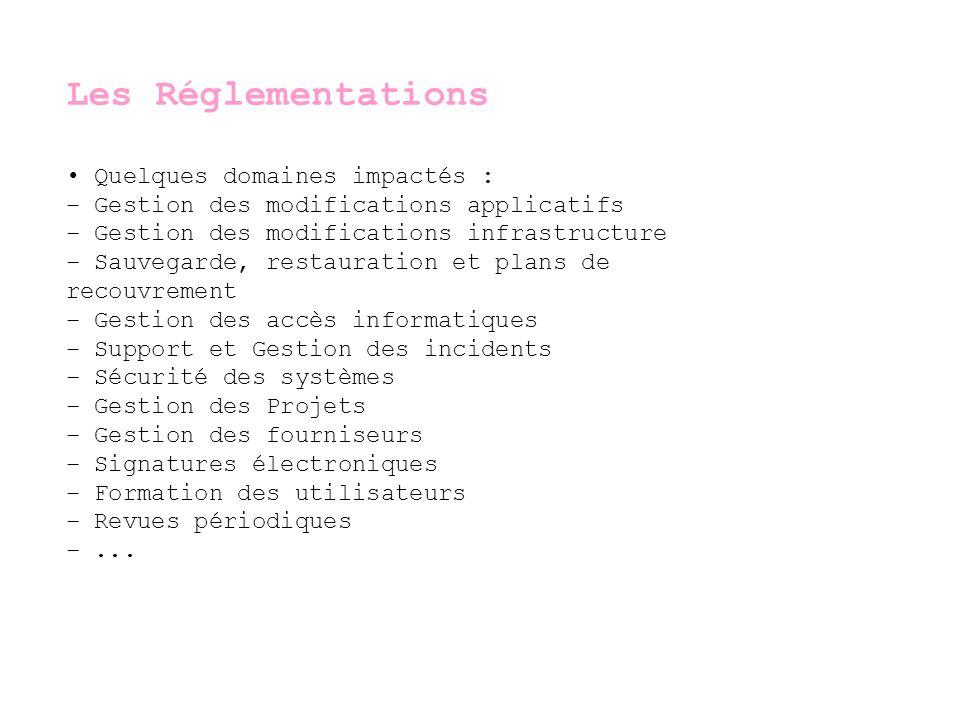 Les Réglementations • Quelques domaines impactés :