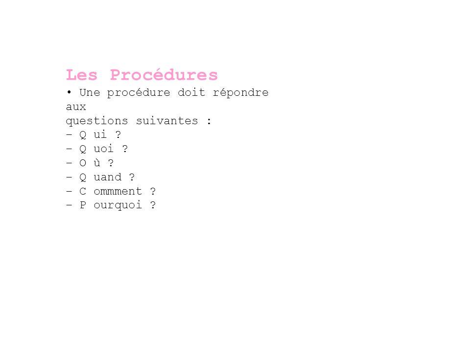 Les Procédures • Une procédure doit répondre aux questions suivantes :