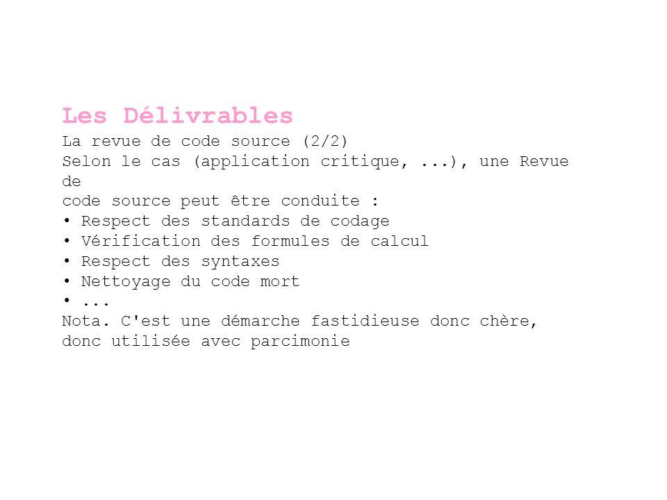 Les Délivrables La revue de code source (2/2)