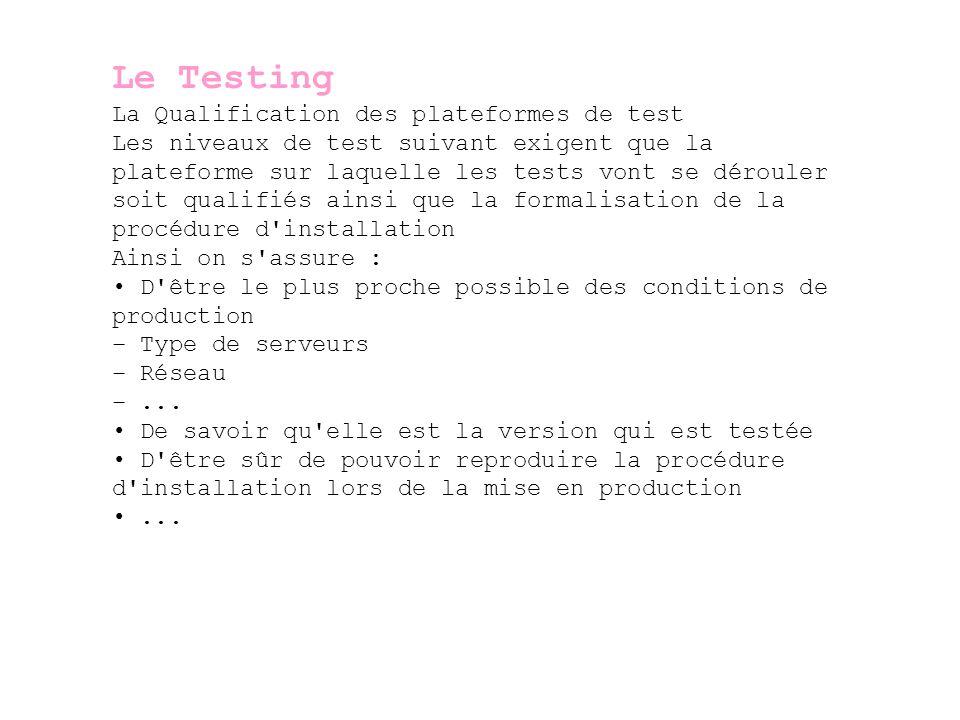 Le Testing La Qualification des plateformes de test