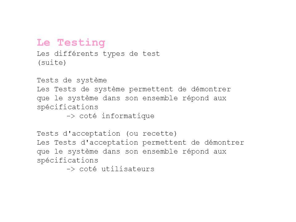 Le Testing Les différents types de test (suite) Tests de système