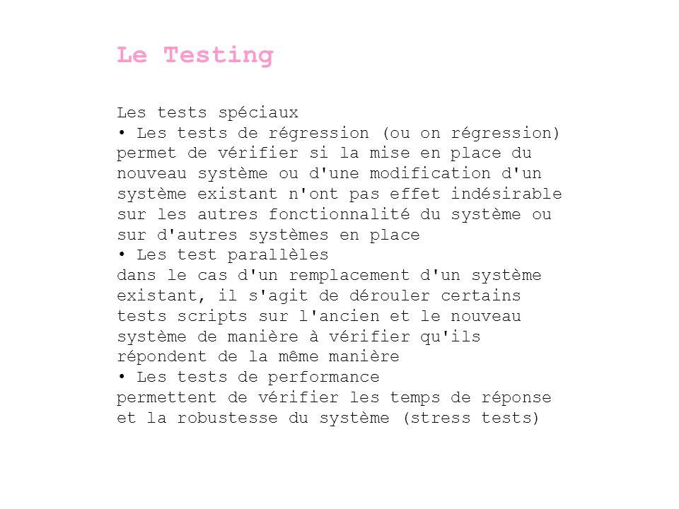Le Testing Les tests spéciaux