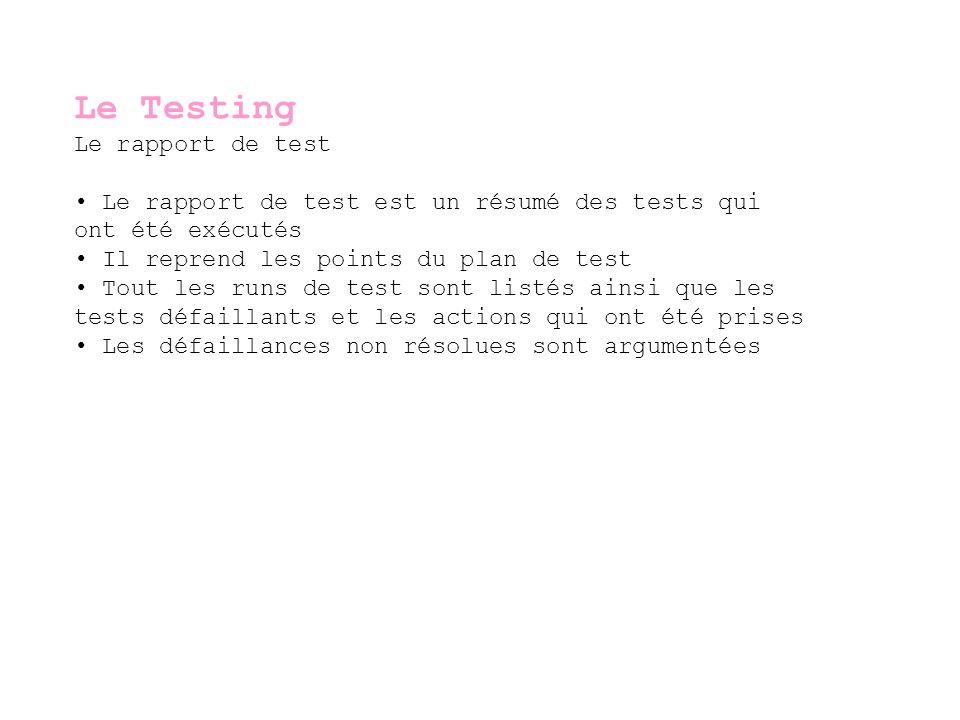 Le Testing Le rapport de test