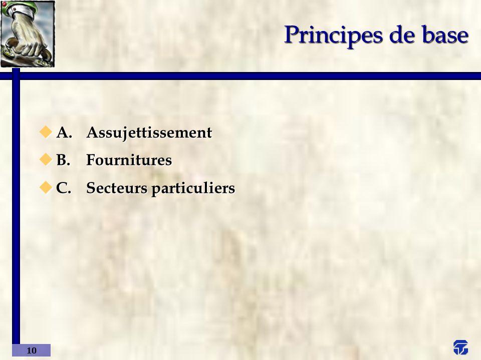 Principes de base A. Assujettissement B. Fournitures