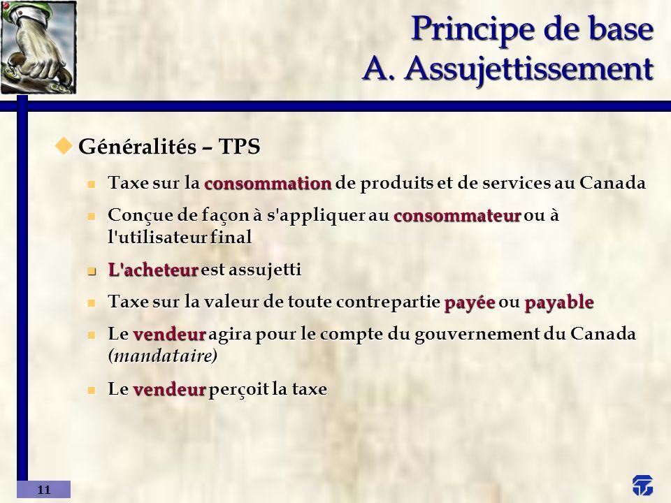 Principe de base A. Assujettissement