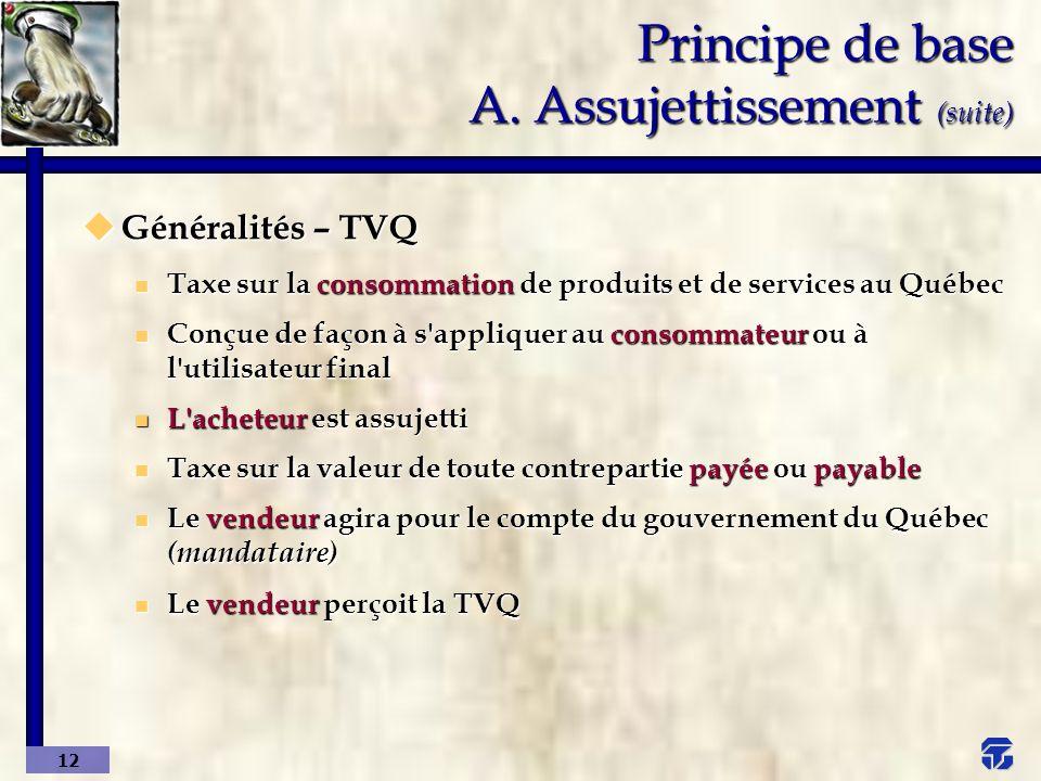 Principe de base A. Assujettissement (suite)
