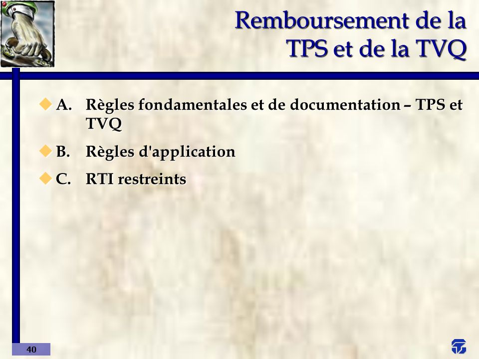 Remboursement de la TPS et de la TVQ