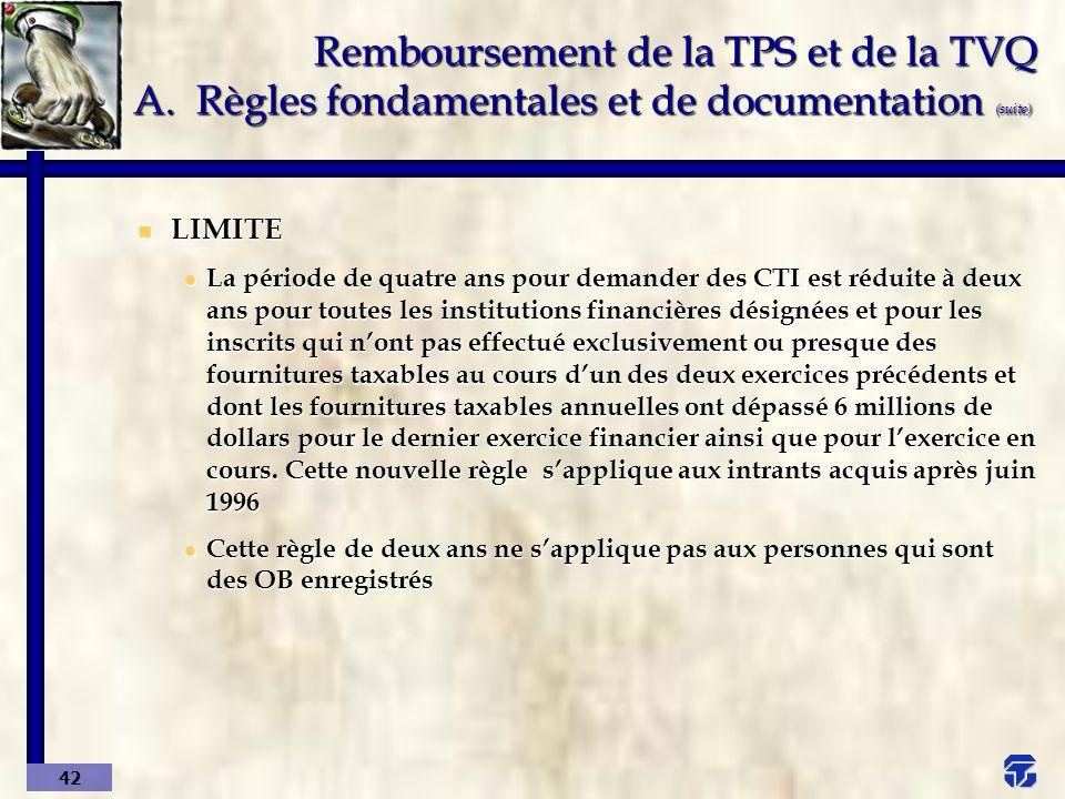 Remboursement de la TPS et de la TVQ A