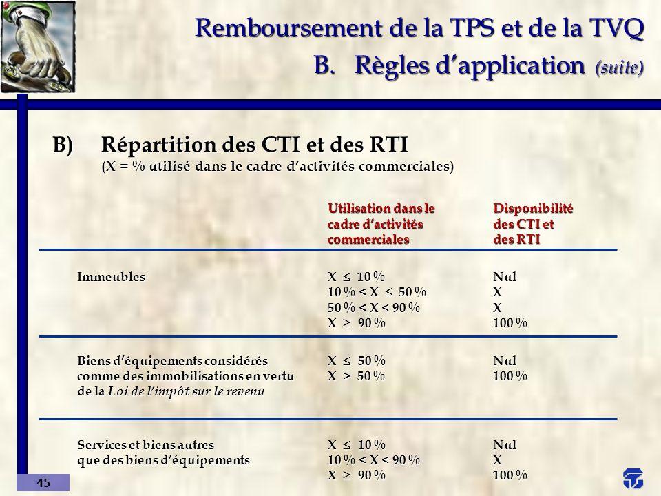 Remboursement de la TPS et de la TVQ B. Règles d'application (suite)