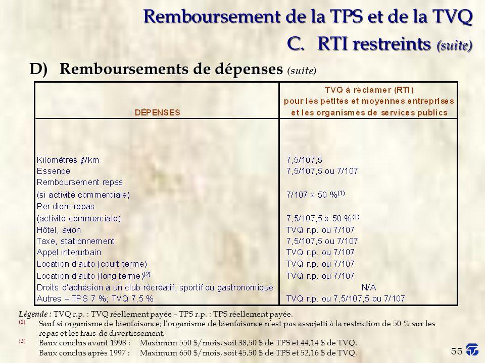 Remboursement de la TPS et de la TVQ C. RTI restreints (suite)