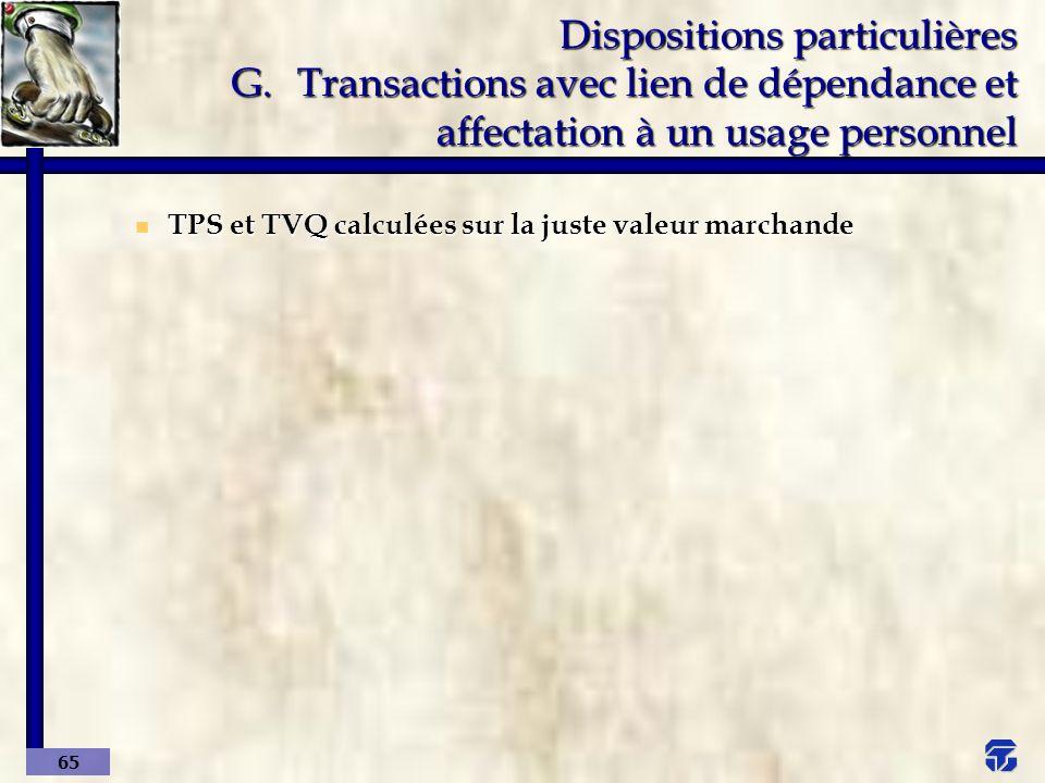 Dispositions particulières G