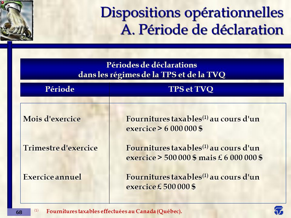 Dispositions opérationnelles A. Période de déclaration