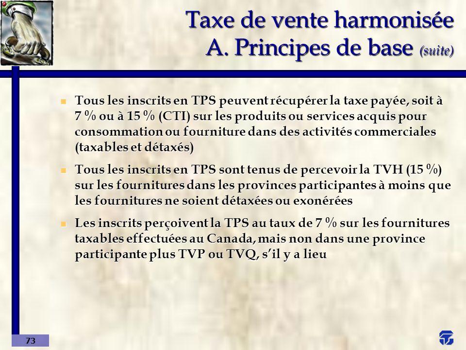 Taxe de vente harmonisée A. Principes de base (suite)