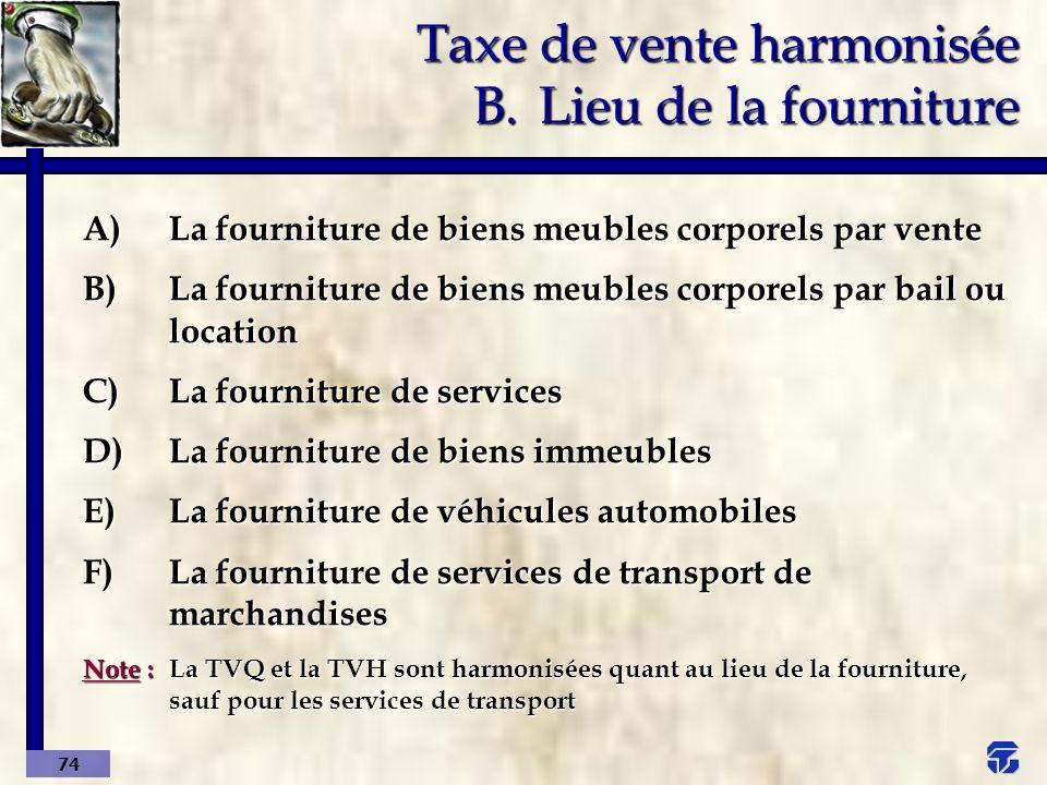 Taxe de vente harmonisée B. Lieu de la fourniture