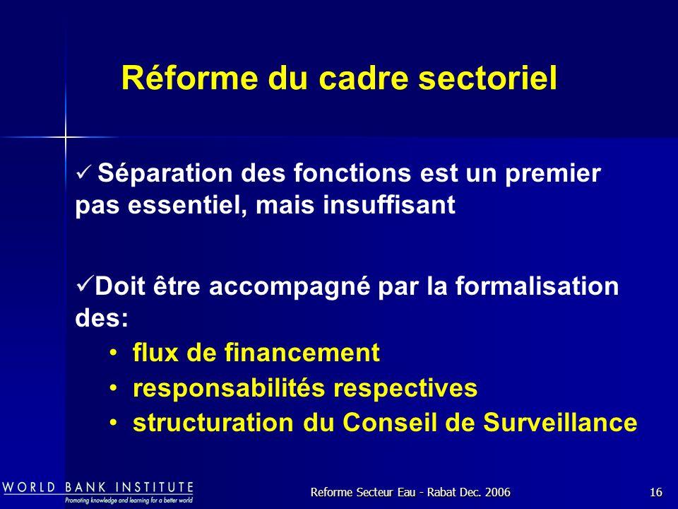 Réforme du cadre sectoriel