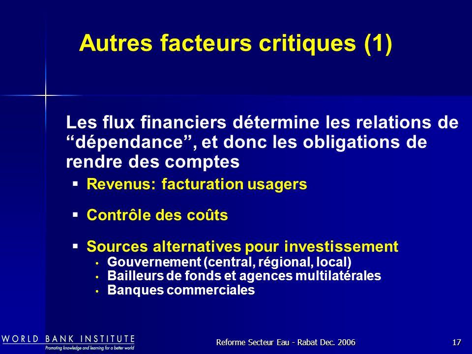 Autres facteurs critiques (1)