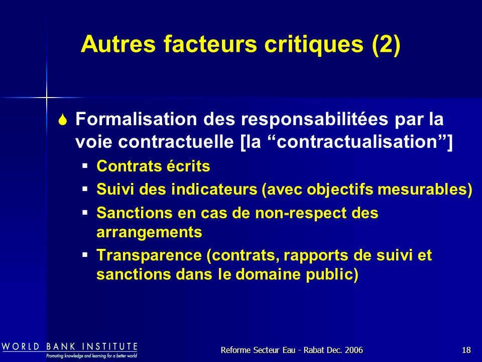 Autres facteurs critiques (2)
