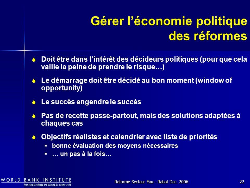 Gérer l'économie politique des réformes