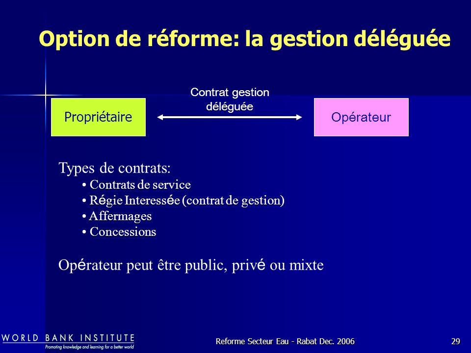 Option de réforme: la gestion déléguée