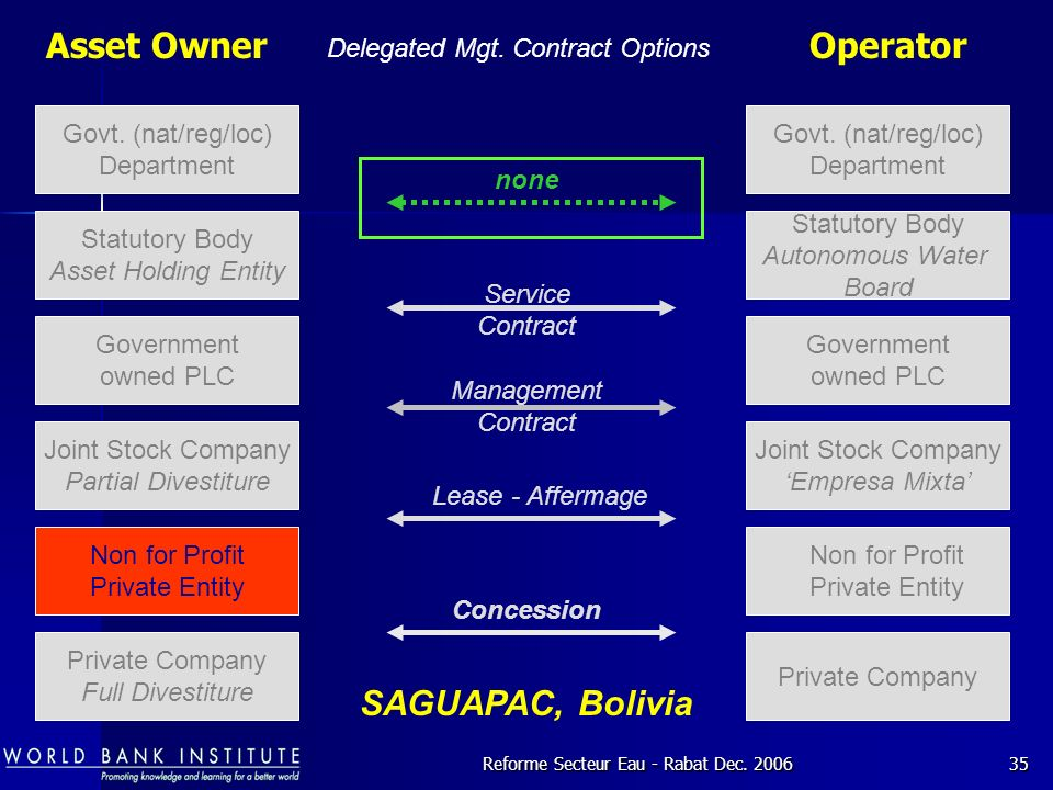 Asset Owner Operator SAGUAPAC, Bolivia Delegated Mgt. Contract Options