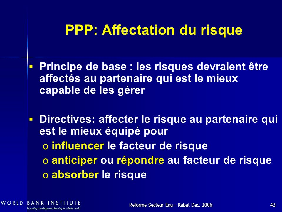 PPP: Affectation du risque