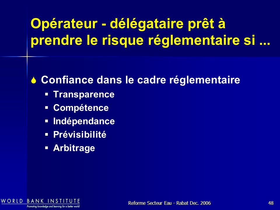 Opérateur - délégataire prêt à prendre le risque réglementaire si ...