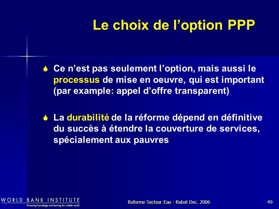 Le choix de l'option PPP