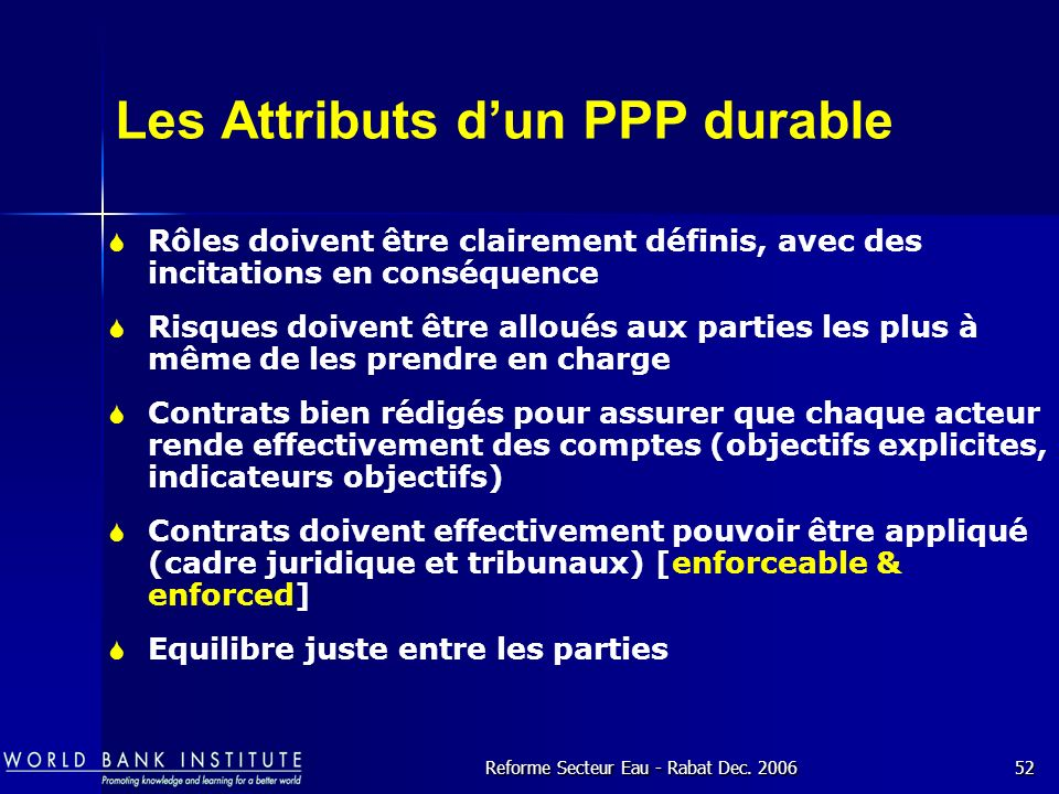 Les Attributs d'un PPP durable