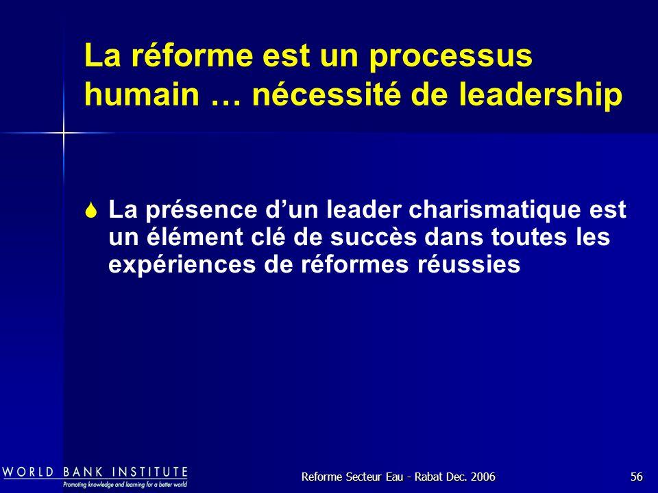 La réforme est un processus humain … nécessité de leadership