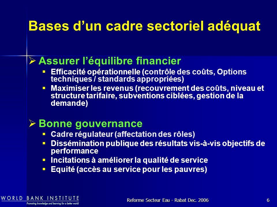 Bases d'un cadre sectoriel adéquat