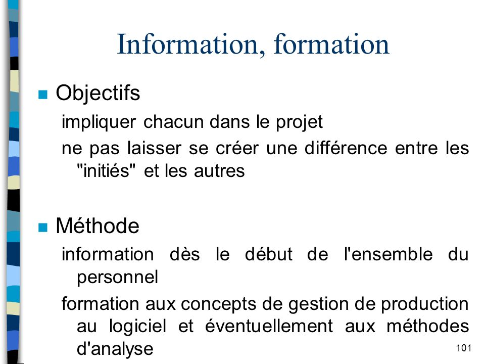 Information, formation