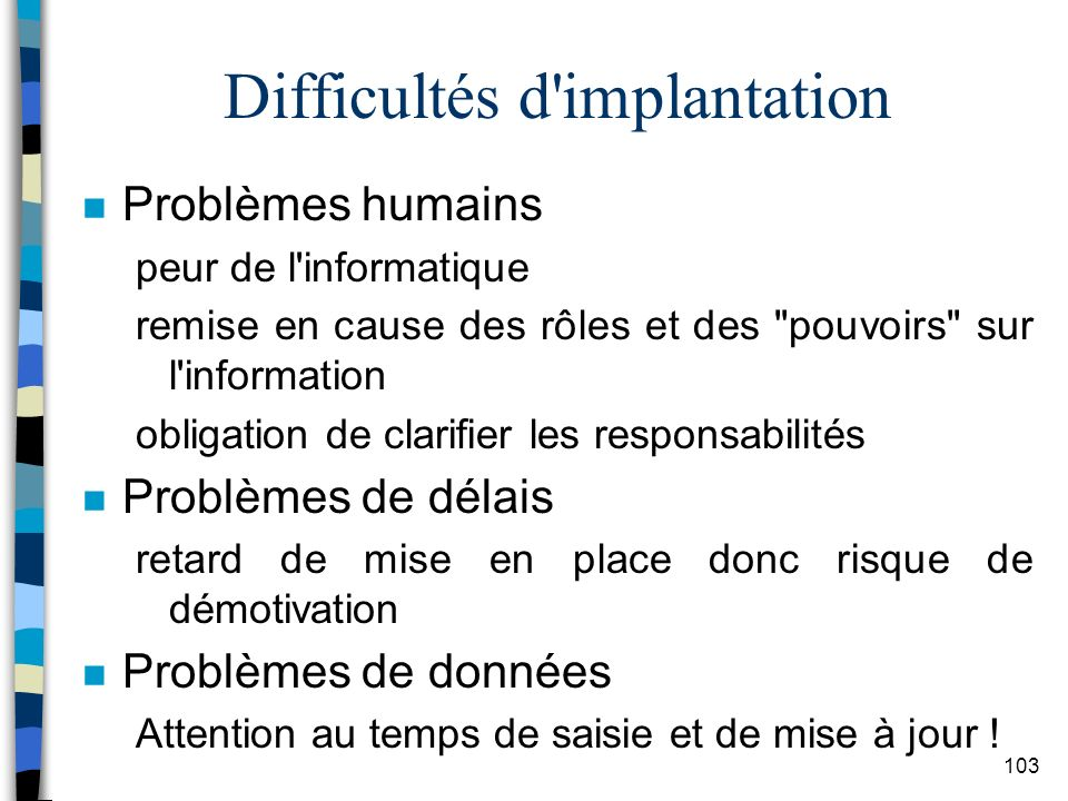 Difficultés d implantation