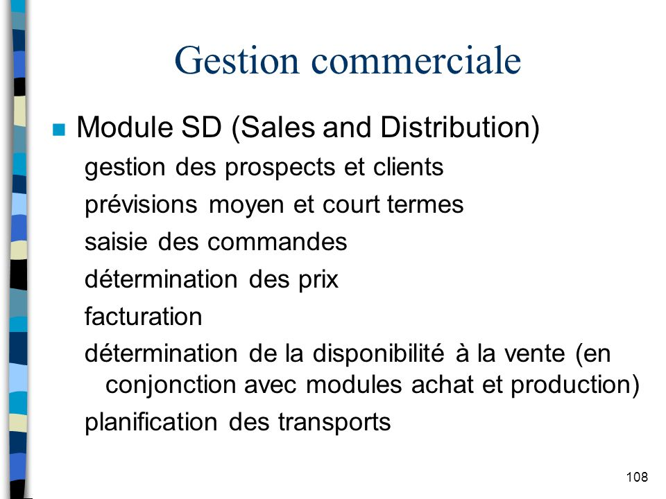 Gestion commerciale Module SD (Sales and Distribution)